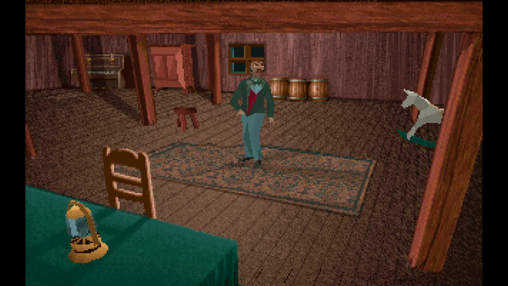 Edward Carnby stands on a brown rug in the middle of a brown attic with brown walls.